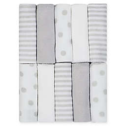 Just Born® Pom Pom 10-Pack Terry Washcloths in Grey/White