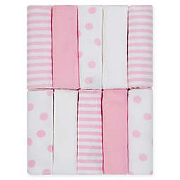 Just Born® Pom Pom 10-Pack Terry Washcloths in Pink/White