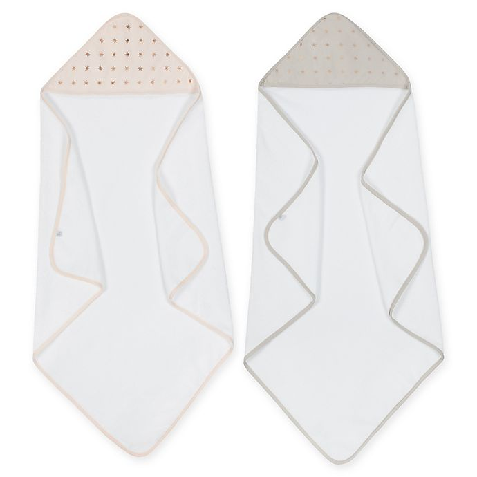 Alternate image 1 for Just Born® Sparkle 2-Pack Hooded Towel in Rose Gold