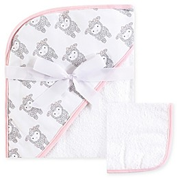 Hudson Baby® Lamb Woven Hooded Towel and Washcloth Set in White