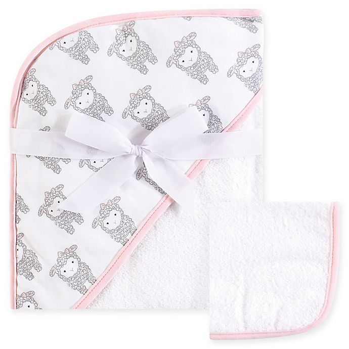 Alternate image 1 for Hudson Baby® Lamb Woven Hooded Towel and Washcloth Set in White