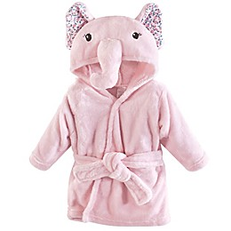Little Treasures Size 0-9M Floral Elephant Hooded Bathrobe in Pink