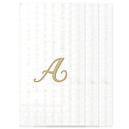 White Stripe Monogram Letter 32-Count Paper Guest Towels
