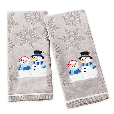 Peppermint Couple Hand Towels in Grey (Set of 2)