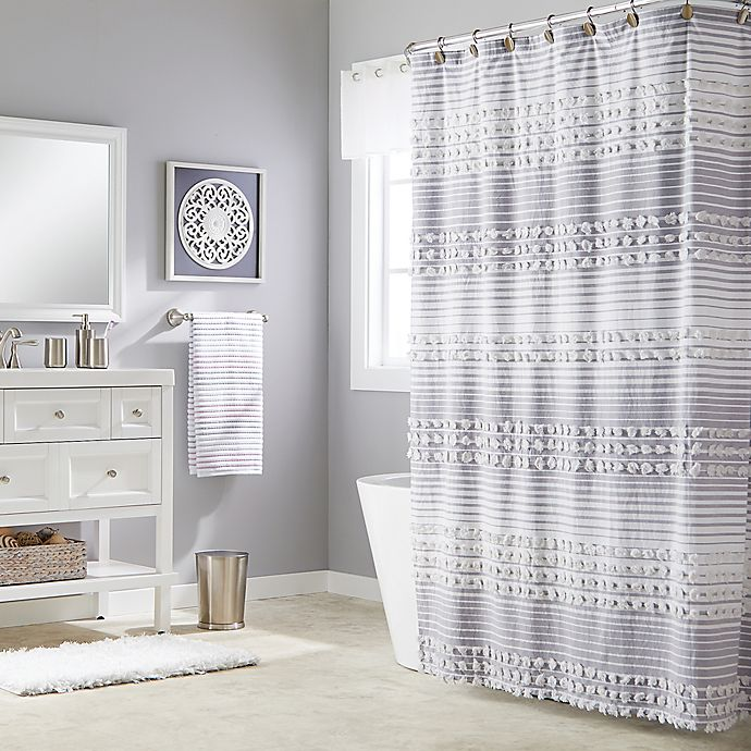 Alternate image 1 for Saturday Knight Puffed Stripe Shower Curtain in SIlver