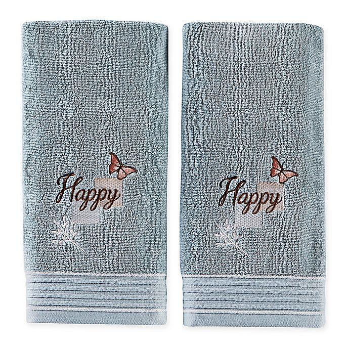 Alternate image 1 for New Hope Hand Towels in Aqua (Set of 2)