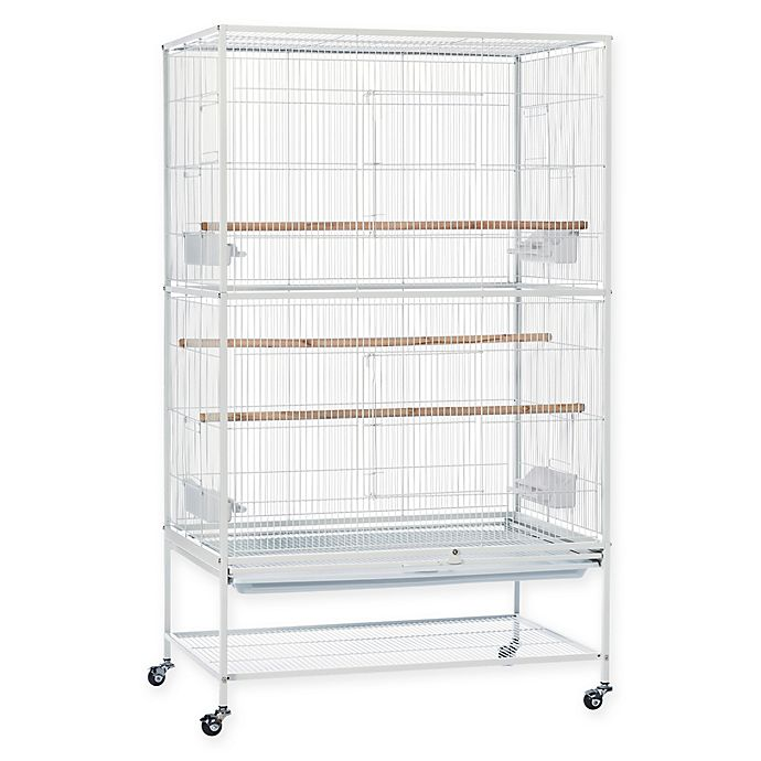 Alternate image 1 for Prevue Pet Products Wrought Iron Flight Cage with Stand in Chalk White