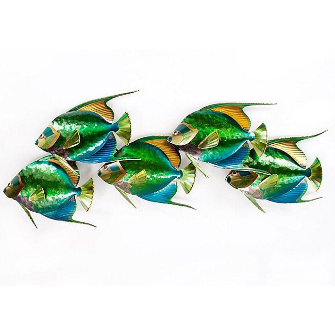 Alternate image 1 for Queen Angelfish School of 5 Metal Wall Sculpture