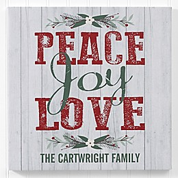 Peace, Joy, Love Personalized Canvas Print