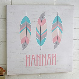 3 Feathers Personalized Boho Collection Canvas