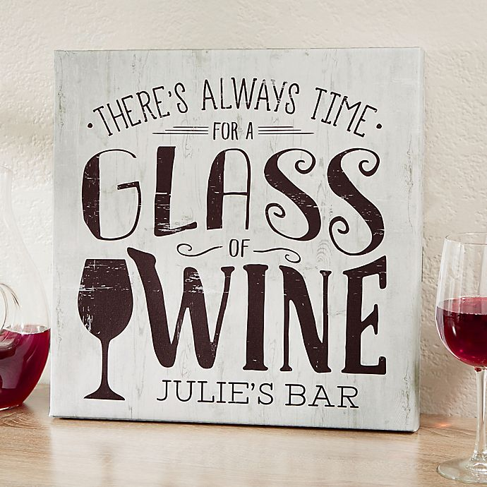 Alternate image 1 for There's Always Time For Wine 24-Inch Square Personalized Canvas