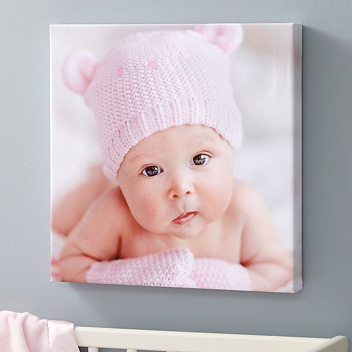 Alternate image 1 for Baby Photo Memories Personalized Square Canvas