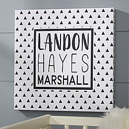 Black & White Personalized Baby Canvas
