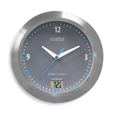La Crosse Technology Water Resistant Atomic Analog Clock with Digital Temperature Display