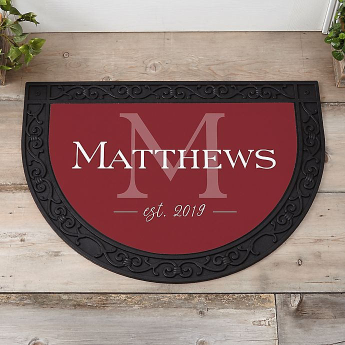 Alternate image 1 for Family Name Personalized Half Round Doormat