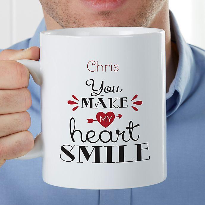 Alternate image 1 for You Make My Heart Smile Personalized 30 Oz Coffee Mug