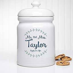 Mr. and Mrs. Laurel Leaf Personalized Cookie Jar