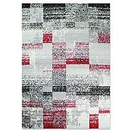 Novelle Home Distressed Squares Area Rug in Grey