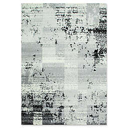 Novelle Home Faded Squares Area Rug in Grey