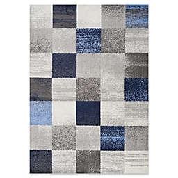 "Novelle Home Squares 7'10"" X 10'6"" Area Rug in Blue"