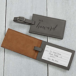 Stylish Name Personalized Luggage Tag in Charcoal