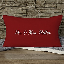 Our Wedding Date Personalized Lumbar Throw Pillow