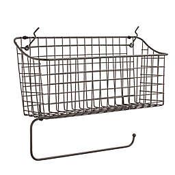 Spectrum™ Pegboard Basket with Paper Towel Holder in Grey
