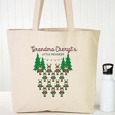 Reindeer Family Character Personalized Canvas Tote