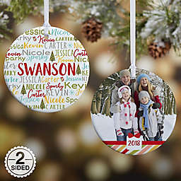 2-Sided Glossy Whimsical Winter Family Personalized Ornament- Small
