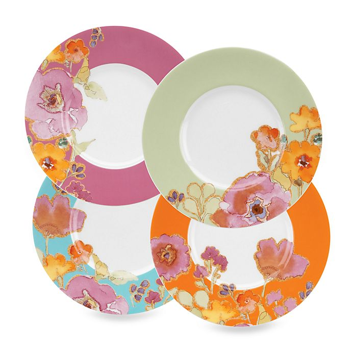 Alternate image 1 for Lenox® Floral Fusion 7 1/2-Inch Assorted Color Dessert Plates (Set of 4)