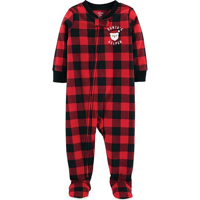 carters buffalo plaid fleece christmas pajamas in redblack