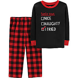 carter's® 2-Piece Naughty, Nice, I Tried Buffalo Plaid Pajama Set in Red