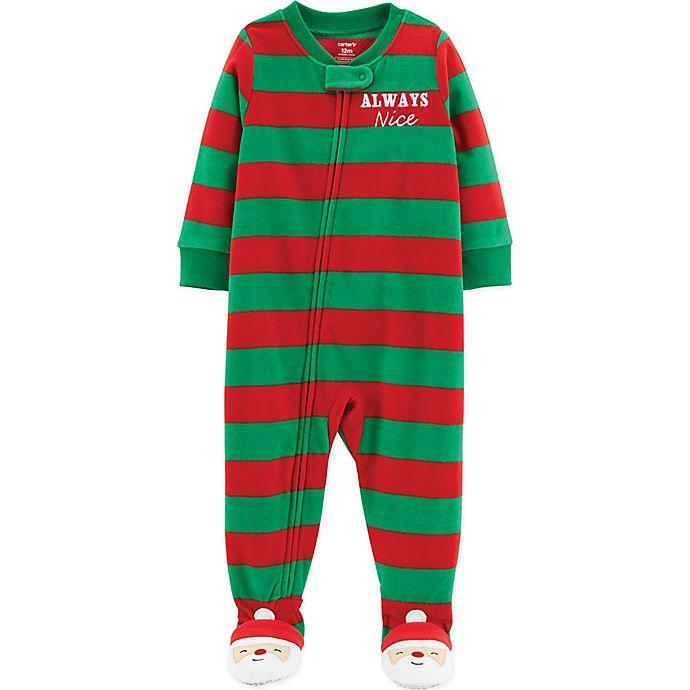 alternate image 1 for carters always nice striped fleece christmas pajamas in redgreen