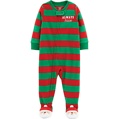 carter's® Always Nice Striped Fleece Christmas Pajamas in Red/Green