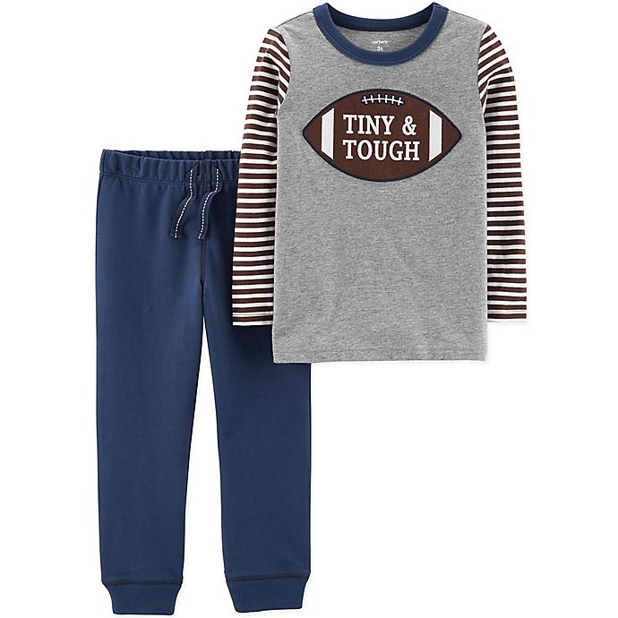 Alternate image 1 for carter's® 2-Piece Tiny & Tough T-Shirt and Pants Set in Grey/Navy