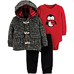 carter's® Size 9M 3-Piece Penguin Little Cardigan Set in Grey/Red