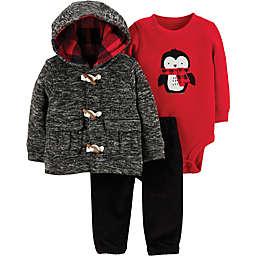 carter's® 3-Piece Penguin Little Cardigan Set in Grey/Red