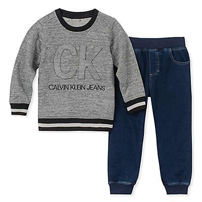 Calvin Klein 2-Piece Sweatshirt and Pants Set in Denim/Grey