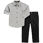 Calvin Klein Size 6-9M 2-Piece Woven Logo Shirt and Pant Set in Grey/Black