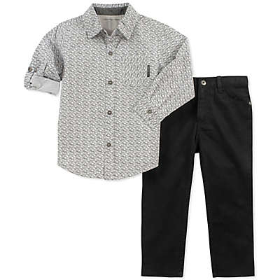 Calvin Klein 2-Piece Woven Logo Shirt and Pant Set in Grey/Black
