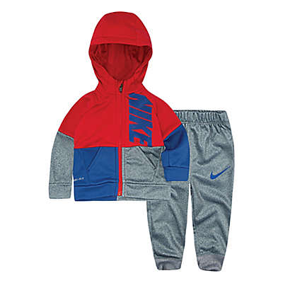 Nike® 2-Piece Colorblock Hoodie and Pant Set in Heather Grey