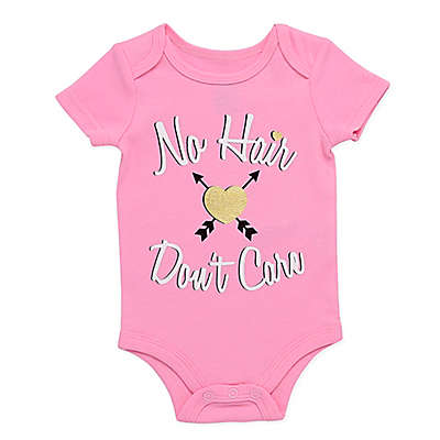 """BWA® """"No Hair Don't Care"""" Short Sleeve Bodysuit in Pink"""