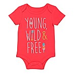 """BWA® Size 3M """"Young, Wild & Free"""" Short Sleeve Bodysuit in Coral Pink"""