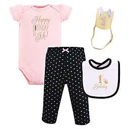 """Hudson Baby® Size 12M 4-Piece """"First Birthday"""" Gift Set in Black"""