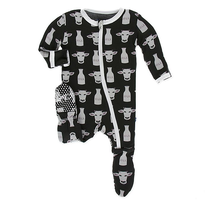 Alternate image 1 for KicKee Pants® Size 3-6M Zebra Tuscan Cow Footie in Black