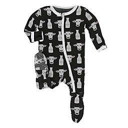 KicKee Pants® Zebra Tuscan Cow Footie in Black