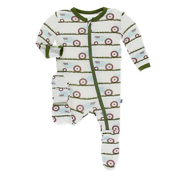 Alternate image 1 for KicKee Pants® Size 6-9M Tractor in Grass Footie in Ivory