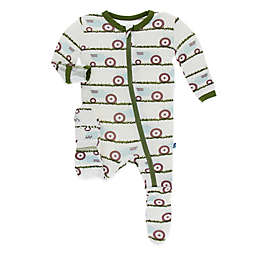 KicKee Pants® Tractor in Grass Footie in Ivory