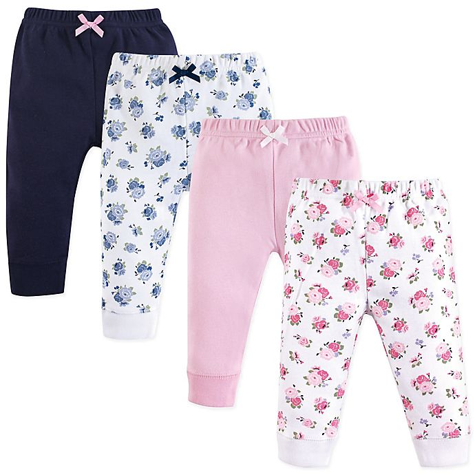 Alternate image 1 for Luvable Friends® Size 9-12M 4-Pack Floral Ankle Pants in Pink
