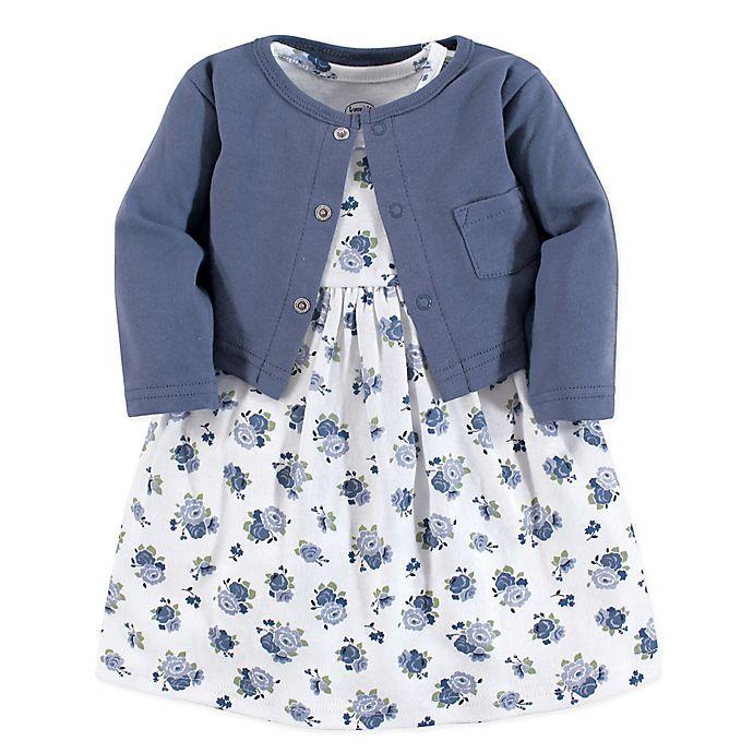 Alternate image 1 for Luvable Friends® Floral 2-Piece Dress & Cardigan Set in Blue